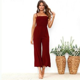 fea50a0b2d31 Female Black Wine Red Streetwear Jumpsuits Nice New Women Summer Sexy  Spaghetti Strap Jumpsuits Beach Backless Loose Rompers
