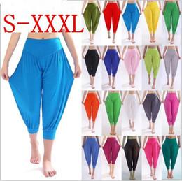 $enCountryForm.capitalKeyWord Australia - New 100% Cotton Plus Size Women's Stretch Comfy Workout Sports Pants Trousers Capris Womens Summer Short Harem Pants W00285
