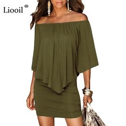 sexy army shirts Canada - Army Green Slash Neck Women Mini Dress 2019 Summer Style Off Shoulder Sexy Dresses Vestidos Black White Beach Casual Dress Y19021410