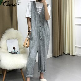 $enCountryForm.capitalKeyWord Australia - Celmia Plus Size Overalls New Spring Vintage Knit Jumpsuit Women Sleeveless Button Down Harem Pants Casual Loose Sexy Rompers Ol Y19062201