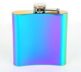 Wholesale gradient color Stainless Steel Hip Flask Whiskey Drinkware Funnel Wine Bottle oz Whiskey Vodka Alcohol bottle pocket liquor wine pot flagon