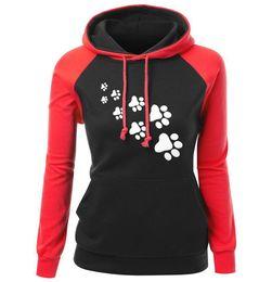 $enCountryForm.capitalKeyWord UK - Splicing Contrast Color Hoodie Women Winter Long Sleeve Sweatshirts Casual Sportswear with Cute Animal Footprints 6 Color Available