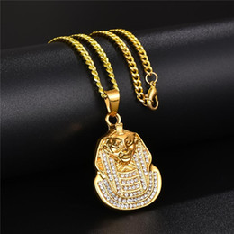 egypt gold wholesaler Canada - Hip Hop Jewelry Iced Out Egypt Pharaoh King Pendant Necklace Gold Micro Pave Zircon Pharaoh Head Pendant Necklace With Curb Chain