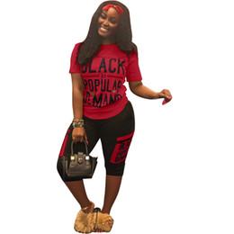 Batik Art UK - Summer Black Letter Print Shorts Set Women Short SLeeve Track Suit Sportswear 2 Piece Joggers Casual Fitness Sports Designer Outfit A5906