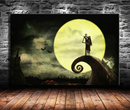 Framed Christmas Paintings Australia - 1 Pieces Canvas Prints Wall Art Oil Painting Home Decor The Nightmare Before Christmas -2 (Unframed Framed) 24x36.