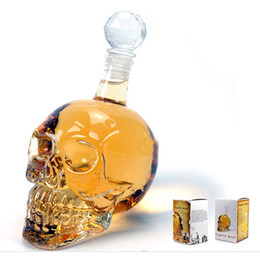 Wholesale Head Vodka Bottle Skull Head Bottles Creative Gothic Wine Cup Vodka Decanter ml ml ml Sizes Drop ShipE Crystal