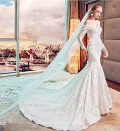 $enCountryForm.capitalKeyWord NZ - Mermaid Wedding Dresses Word Shoulder Long-Sleeved Was Thin Fishtail Long Tail Lace Halter Strap White Winter Garden Brides Dresses DH79