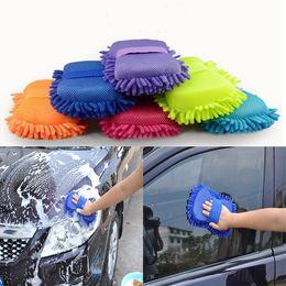 Cleaning Blocks Australia - Car Sponge block hand soft towel microfiber chenille washing solid color coral fleece auto clean tool dc003