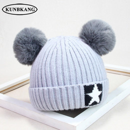 eadf768df9c Baby Boys Girls Pom Pom Hat Children Winter Hat For Kids Knit Beanies Thick  Baby Hats With Pompom Infant Toddler Warm Beanie Cap