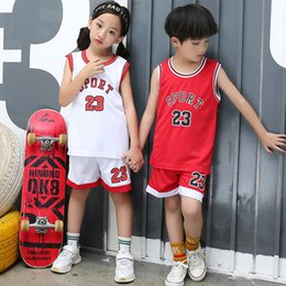 cheap sports vests UK - 2pcs Set Toddler Boy Girls Summer Sport Clothes Child's Basketball Uniform Baby Kids Boys Girls Cheap Sports Set