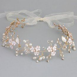 $enCountryForm.capitalKeyWord Australia - Slbridal Handmade Wired Rhinestones Crystals Pearls Flower Wedding Tiara Headband Bridal Hair Vine Hair Accessories Bridesmaids SH190713