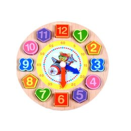 colorful puzzles UK - Cartoon Wooden Math Toys Colorful Puzzle Digital Geometry Clock Baby Educational Wooden Clock beads string of beads toys