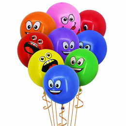 $enCountryForm.capitalKeyWord Australia - 12Inch Big Eyes Smile Ballons Multi-color Funny Inflatable Helium Latex Balloons for kids birthday decoration Children's Day Party gifts