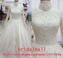 ElEgant sExy rEd drEssEs online shopping - High Neck New Appliqued Satin Long Sleeve Muslim Wedding Dresses Vintage African Arabic Boho Beach Bridal Gowns Elegant Robes de mariée