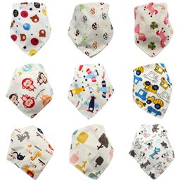 Baby Cartoon Bibs Newborn Baby 95% Cotton Triangle Bibs Infant Girls Double-layer Snap Letter Printed Burp Cloths 06