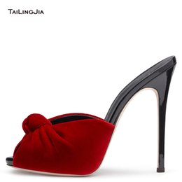 $enCountryForm.capitalKeyWord NZ - Women High Heel Knotted Mules 2018 Sexy Ladies Black Red Velvet Summer Shoes Peep Toe Sandals Party Evening Dress Heels Big Size