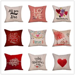 Valentine pillow case online shopping - Square Flax Decorative Throw Pillows Cases Love Valentine Day Decoration Cushion Cover Bedroom Sofa Car Pillow Case Creative rr BB