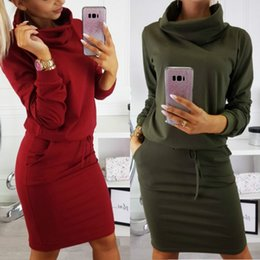 turtle charm green Australia - Charming Autumn Style 2019 New Fashion Autumn Vintage Women Winter Dresses Warm Vestidos Femininos Casual Long-sleeve Turtleneck Dress
