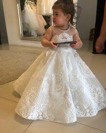 White floWer girl dresse online shopping - Luxurious Lace Beaded Flower Girl Dresse Sheer Neck Tulle Little Girl Wedding Dresses Vintage Communion Pageant Dresses Gowns F159