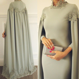 Turkish gowns online shopping - Elegant Long Sleeves Turkish Evening Dresses Formal Prom Gowns High Neck Lace Robe soiree Dubai Caftan Mariage