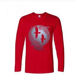 72311abc Vikings Cotton UK - Vikings TV Series Odin's Raven Ragnar Lodbrok Tshirts  Mens casual long sleeve