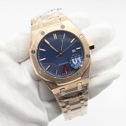 Wholesale Hot Sale Mens Watch Automatic Mechanical Royal Oak Rose Gold Stainless Steel Blue Dial Men Watches Male Wristwatch