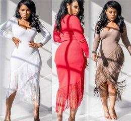 Tassel sleeve whiTe dress online shopping - womens dresses one piece dress skirt sexy tassel mid calf dress night dress fashion women clothes klw2448