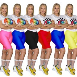 Blue Yellow Red Cartoon Australia - Women Two Piece Outfits Cartoon Print Tracksuit Mouse Eye Pattern Short Sleeve White T Shirt Shorts Suits Jogging 2 Piece Set Blue Yellow