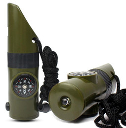$enCountryForm.capitalKeyWord Australia - 7 In 1 Survival Whistle Outdoor Multi-function Whistle Survival Whistle led Flashlight torch Compass Thermometer Magnifier Outdoor Gear