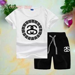 $enCountryForm.capitalKeyWord Australia - 2019 Children Sets 1-8T Kids T-shirt And Short Pants 2Pcs sets Baby Boys Girls 95% Cotton Diamond Design Printing Style Summer Sets