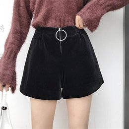 Wholesale Women s Short Korean Punk Harajuku Ulzzang Casual Velvet Wide leg Shorts Female Cute Japan Kawaii Button For Women