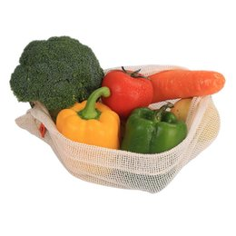 6PCS Natural Organic Shopping Cotton Mesh Bag Borse per frutta e verdura Coulisse Shopper riutilizzabile Acquista Supermarket Pack