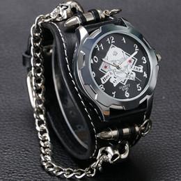 $enCountryForm.capitalKeyWord NZ - New Arrival Cool Punk Bracelet Quartz Watch Wristwatch Skull Bullet Chain Gothic Style Analog Leather Strap Men Women Xmas Gift Y19051603