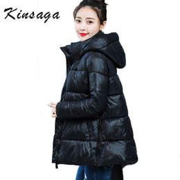 Discount longest weave length - Winter 2019 Fashion Pockets Hoody Wide-waisted Mid long Quilted Jacket For Women Parkas Mujer Warm Solid Thick Oversized