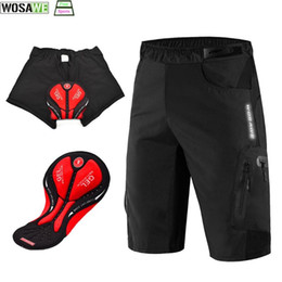 Venta al por mayor de WOSAWE Hombres Pantalones cortos de ciclista deportes al aire libre holgado 3D rellenado para bicicleta de descenso de MTB cortocircuitos motocrós Riding