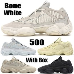 womens stocking tops Canada - Bone White Stock X Top Quality Kanye West 500 Designer Shoes Utility Black Super Moon Yellow Salt Blush Mens Womens Shoes Running Sneakers