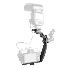 Dslr Camera Grips Australia - Photo Studio Accessories Universal Metal L Shape Flash Light Bracket Camera Grip Video Light Rig DV DSLR Holder with 2 Side Hot