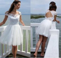 aadd6814e06 Modest Lace Hollow Short Wedding Dresses Beach Sheer Garden Litter Bride  Dress Country Vestido de novia Bridal Gown Plus Size Arabic