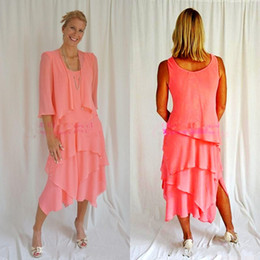 Mother bride skirts 24w online shopping - Water Melon With Jacket Mother Of The Bride Dresses Coral Chiffon Tea Length Tiered Skirt Formal Mother s Dresses Formal Wear Custom
