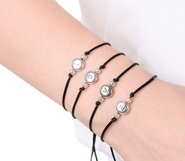 $enCountryForm.capitalKeyWord Australia - new Handmade black Thread String Rope A-S Letter Beads Bracelet For Women Men Silver Color Initials Name Bracelets Couple Jewelry