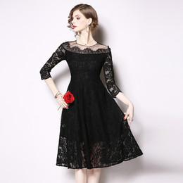 9abdd617c270 2019 Off Shoulder Dress Lady Banquet Evening Vestidos High Waist Ball Gowns  Lace Little Black Dress