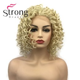 French Blonde Lace Wigs Australia - Medium Blonde Lace Front Curly Afro High Heat Ok Full Synthetic Lace Wig