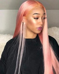 Discount synthetic lace wig fiber - Free Part Synthetic Lace Front Wig Long Natural Straight Honey Pink Color Hair Wigs For Women Party Cosplay Heat Resista