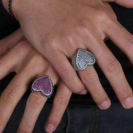 $enCountryForm.capitalKeyWord Australia - hip hop heart blue purple diamonds custer rings for men #7#8#9#10#11# luxury colorful crystal ring platinum plated copper zircons jewelry