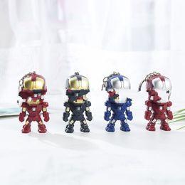 Small Child Toy Car UK - Iron Man Keys Chain LED Illuminate Key Buckle Alloy EDC Keyring Men Women Pendant Children Toys Creative Small Gift 3bs C1