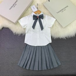 Young Girl Shirts Australia - Children's wear girl Suit baby skirt Young child Summer clothing 2019 new products Wholesale prices Pearl collar Bow vest shirt or
