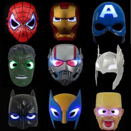 $enCountryForm.capitalKeyWord UK - LED Glowing Light Mask hero SpiderMan Captain America Hulk Iron Man Mask For Kids Adults Party Halloween Birthday