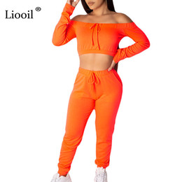 green jumpsuits Australia - Liooil Neon Green 2 Piece Set Off Shoulder Sexy Jumpsuits For Women 2019 Slash Neck Party Club Rompers Womens Jumpsuit Overalls