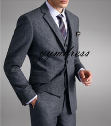 $enCountryForm.capitalKeyWord Australia - Gray Wool Men Suits 2019 Notched Lapel Two Button Slim Fit Custom Made Wedding Tuxedos Prom Suit Three pieces (Jacket+Pant+Vest+Tie) YY8809