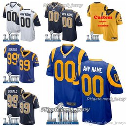 7296756f3 Custom 2019 Super Los Angeles Bowl Rams Jersey 30 Todd Gurley II 99 Aaron  Donald 16 Jared Goff Men Women Youth American Football Jersey
